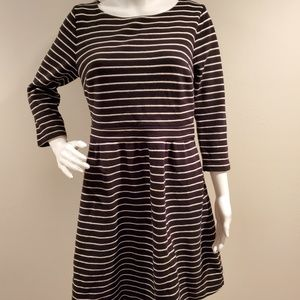 Boden Leila Ponte Fit and Flare Dress Striped 10